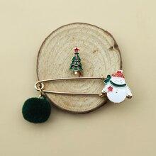 2 Stuecke Brosche mit Weihnachtsschneemann & Baum Dekor