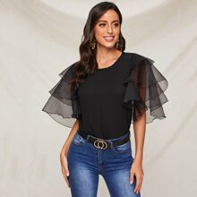 Layered Exaggerate Mesh Sleeve Top