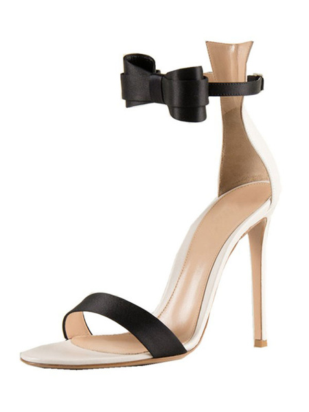 Milanoo High Heel Sandals Women Open Toe Bow Ankle Strap Party Shoes White Evening Shoes