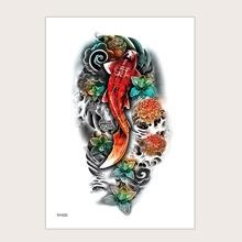 Pegatina tatuaje con patron de carpa y flor
