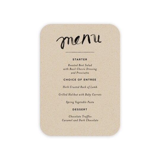 20 Pack of Gartner Studios® Personalized Modern Love Flat Wedding Menu Card in Khaki   5