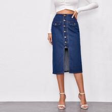 Button Front Straight Denim Skirt