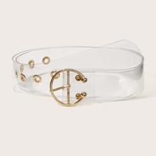 Cinturon transparente con hebilla metalica redonda