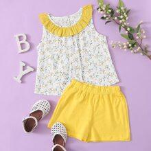 Toddler Girls Contrast Ruffle Plants Print Top & Shorts