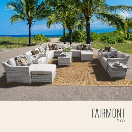 FAIRMONT-17a-BEIGE Fairmont 17 Piece Outdoor Wicker Patio Furniture Set 17a with 2 Covers: Beige and