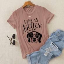 Camiseta con estampado de perro y slogan