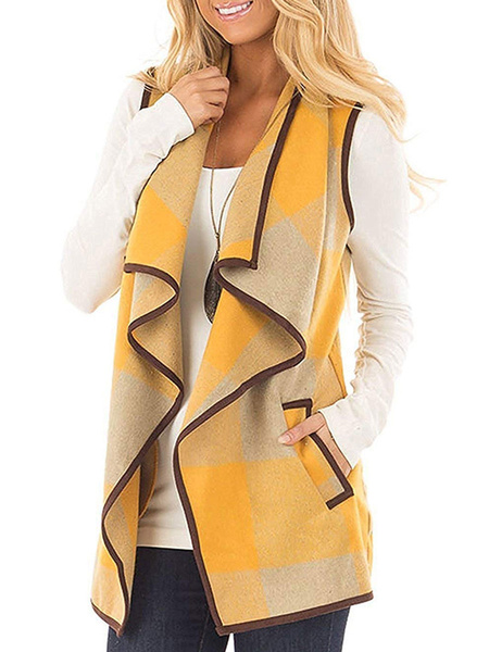 Milanoo Woman Coat Plaid Designed Neckline Casual Yellow Color Block Piping Winter Coat