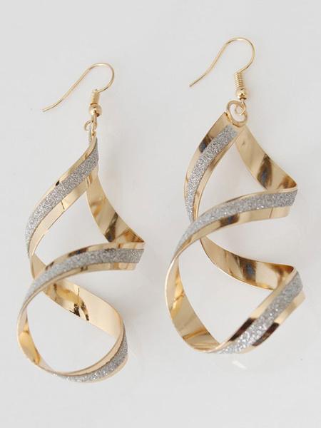 Milanoo Golden Statement Earrings Women's Twisted Cross Frosted Detail Alloy Hook Earrings