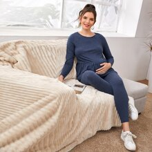 Maternity Solid Ruffle Hem Top and Leggings PJ Set