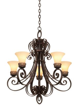 Mirabelle 5198AC/1356 5-Light Chandelier in Antique Copper with Travertine Standard Glass