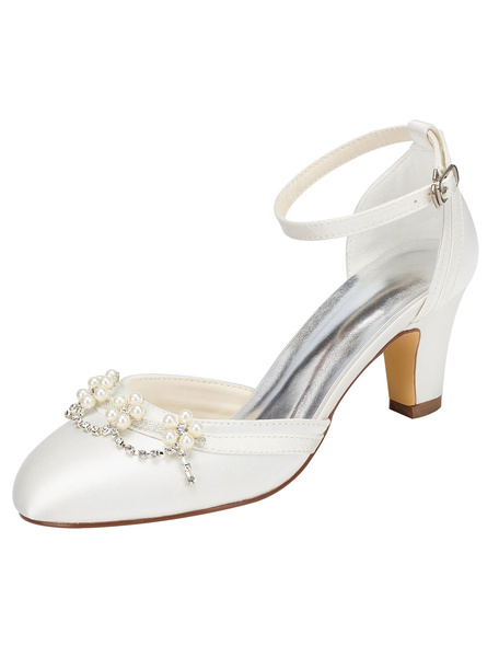 Milanoo Ivory Bridal Shoes Chunky Heel Round Toe Ankle Strap Pearl Crystal Wedding Shoes