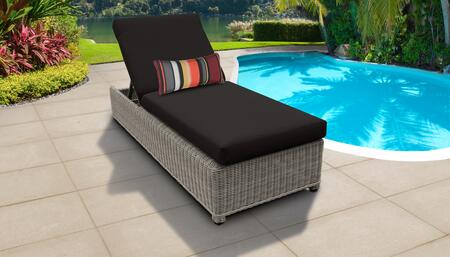 Coast Collection COAST-W-1x-BLACK Wicker Patio Chaise with Wheels - Beige and Black
