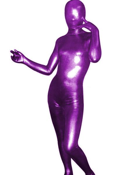 Milanoo Halloween Unisex Purple Shiny Metallic Zentai Suit