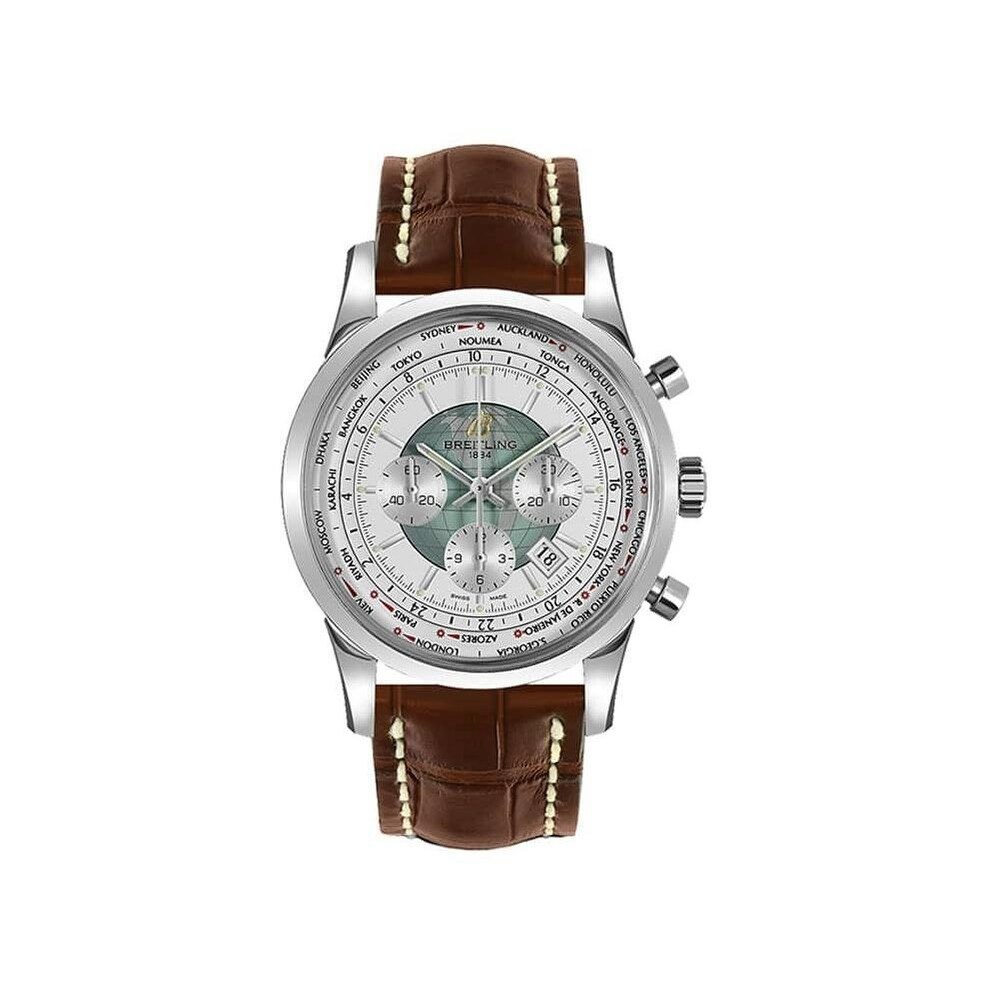 Breitling Men's AB0510U0-A732-757P 'Transocean Chronograph Unitime' Chronograph Brown Leather Watch - White (White)