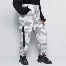 Plus Camo Print Flap Pocket Sweatpants