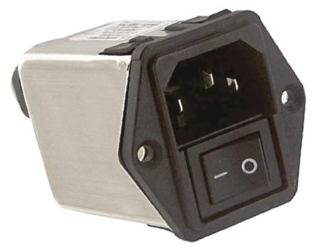 TE Connectivity ,6A,250 V ac Male Flange Mount IEC Filter 2 Pole 6CFE1,Spade None Fuse