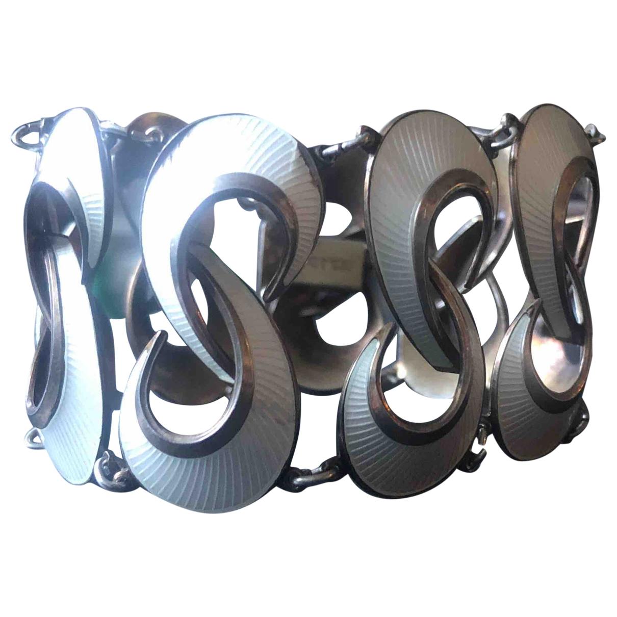 - Bracelet   pour femme en plaque argent - blanc