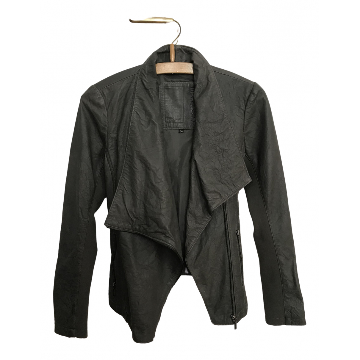 Non Signé / Unsigned \N Khaki Leather jacket for Women 36 FR