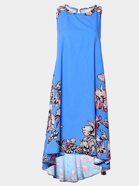 Yoins Blue Sleeveless Random Floral Printed Dress