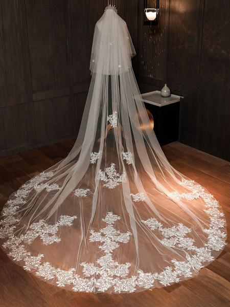 Milanoo Velos de novia Velos de novia de dos niveles de encaje con corte de tul Velos de novia clasicos