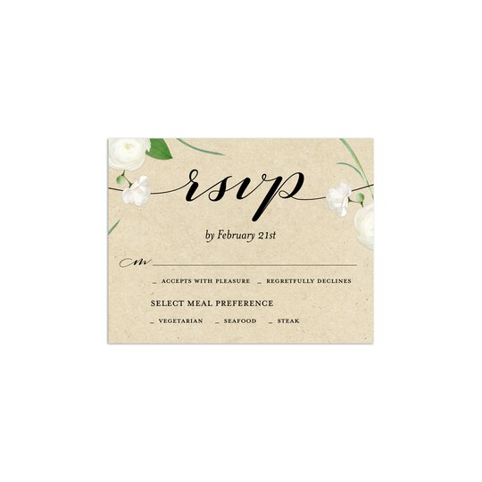 20 Pack of Gartner Studios® Personalized Romantic Floral Flat Wedding RSVP Card in Khaki | 4.25