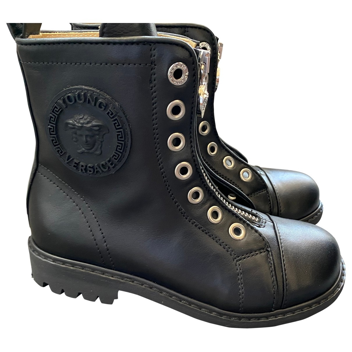 Versace \N Black Leather Boots for Kids 29 EU