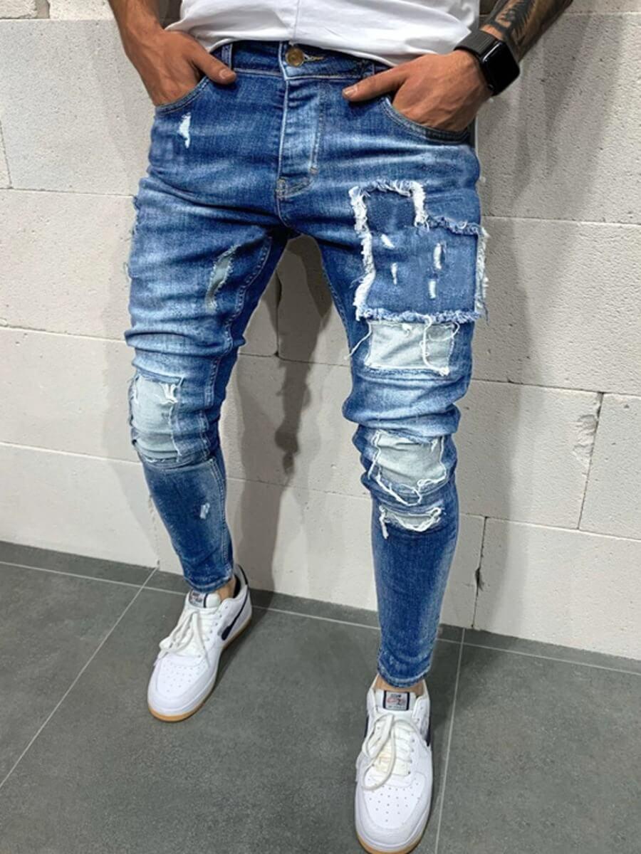 LW Lovely Street Patchwork Bue Men Jeans