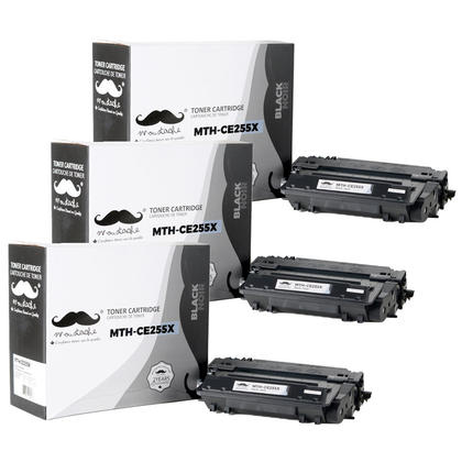 Compatible HP 55X CE255X Black Toner Cartridge High Yield - Moustache - 3/Pack