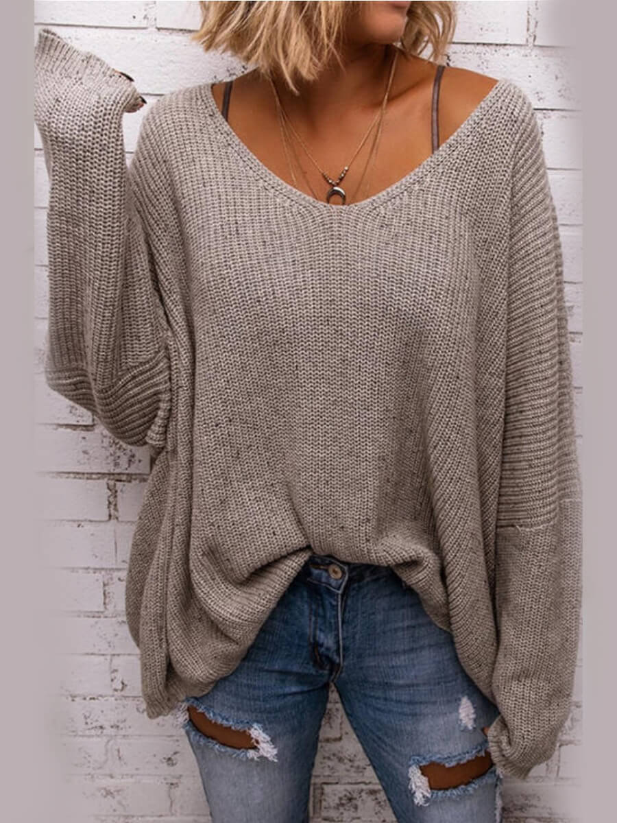 LW Lovely Casual V Neck Loose Grey Sweater