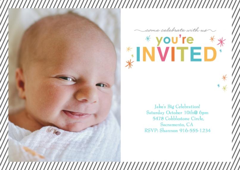 1st Birthday Invitations 5x7 Cards, Premium Cardstock 120lb, Card & Stationery -Valiant Stripes