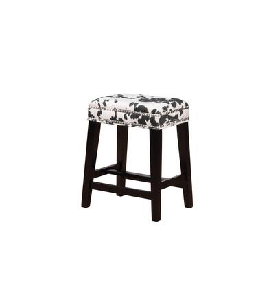 CS098COW01U Walt Collection Counter Height Stool with Backless Design Traditional Style  Solid Wood Frame and Polyester Upholstery in Black Cow Print