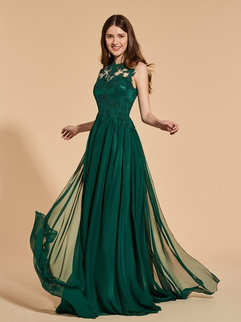 Ericdress A Line Scoop Neck Long Prom Dress