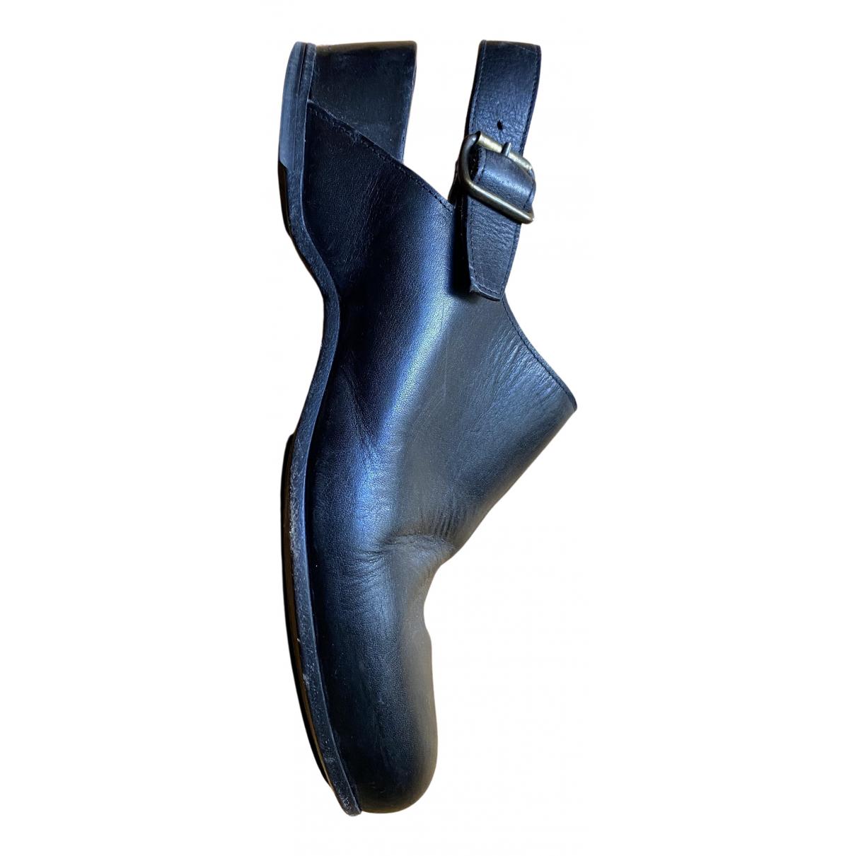 Lanvin - Sandales   pour homme en cuir - noir