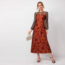 Vestidos Malla en contraste Floral Naranja Quemada Elegante