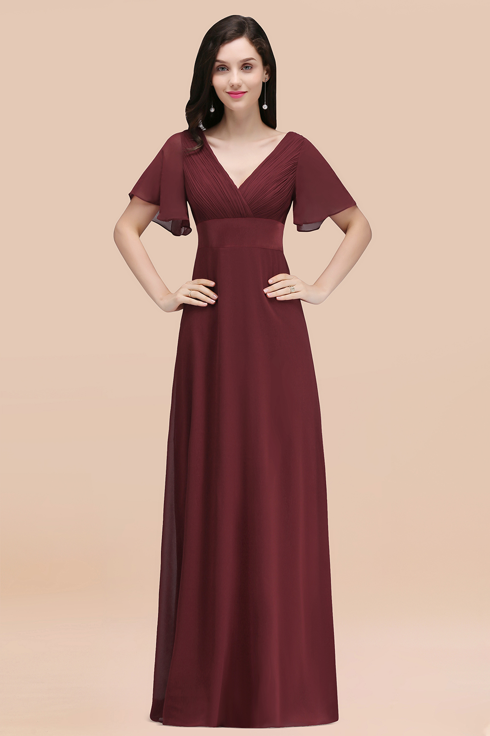BMbridal Affordable V-Neck Ruffle Long Burgundy Bridesmaid Dress With Short-Sleeves