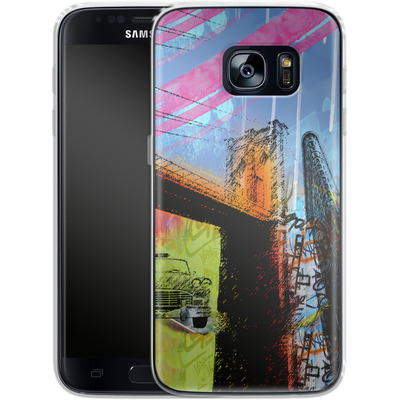 Samsung Galaxy S7 Silikon Handyhuelle - Pop Brooklyn Bridge von Mark Ashkenazi