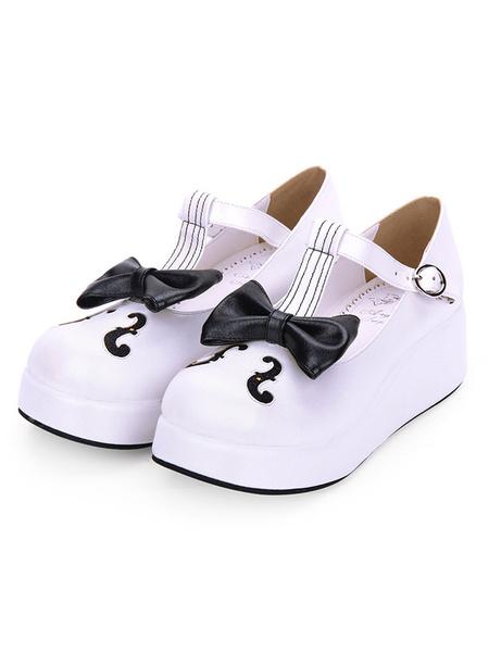 Milanoo Sweet Lolita Footwear Bow Keynote Print Platform Lolita Shoes