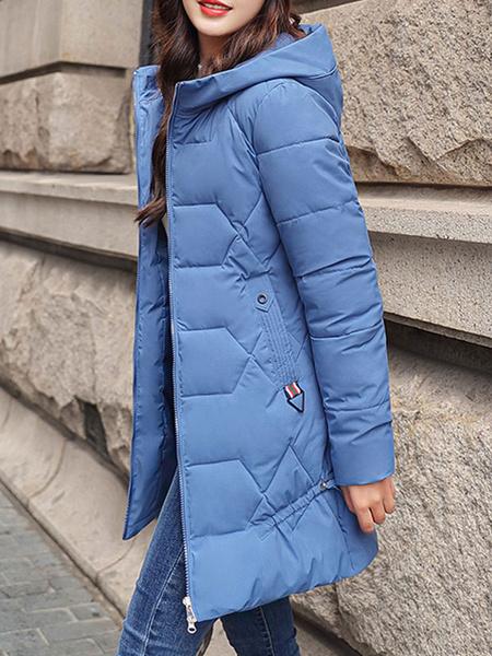 Milanoo de las mujeres Puffer Coats Crudo blanco Medio con capucha de la cremallera de manga larga capa ocasional espesa la ropa de abrigo