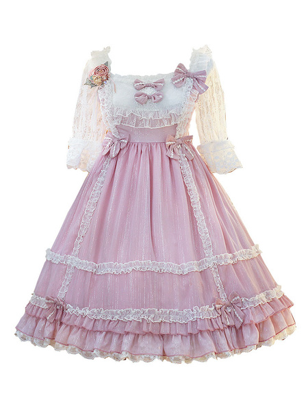 Milanoo Sweet Lolita OP Dress Lace Pleated Pink Short Sleeves Lolita One Piece Dresses