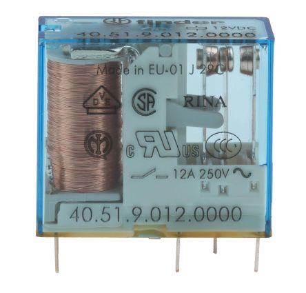 Finder , 12V dc Coil Non-Latching Relay SPDT, 10A Switching Current PCB Mount Single Pole