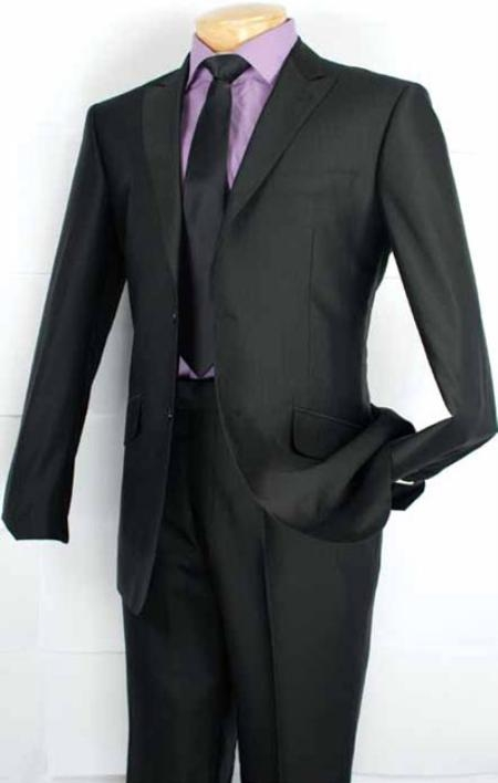 Mens Fashion Slim Fit Suit in Luxurious Wool Feel Black