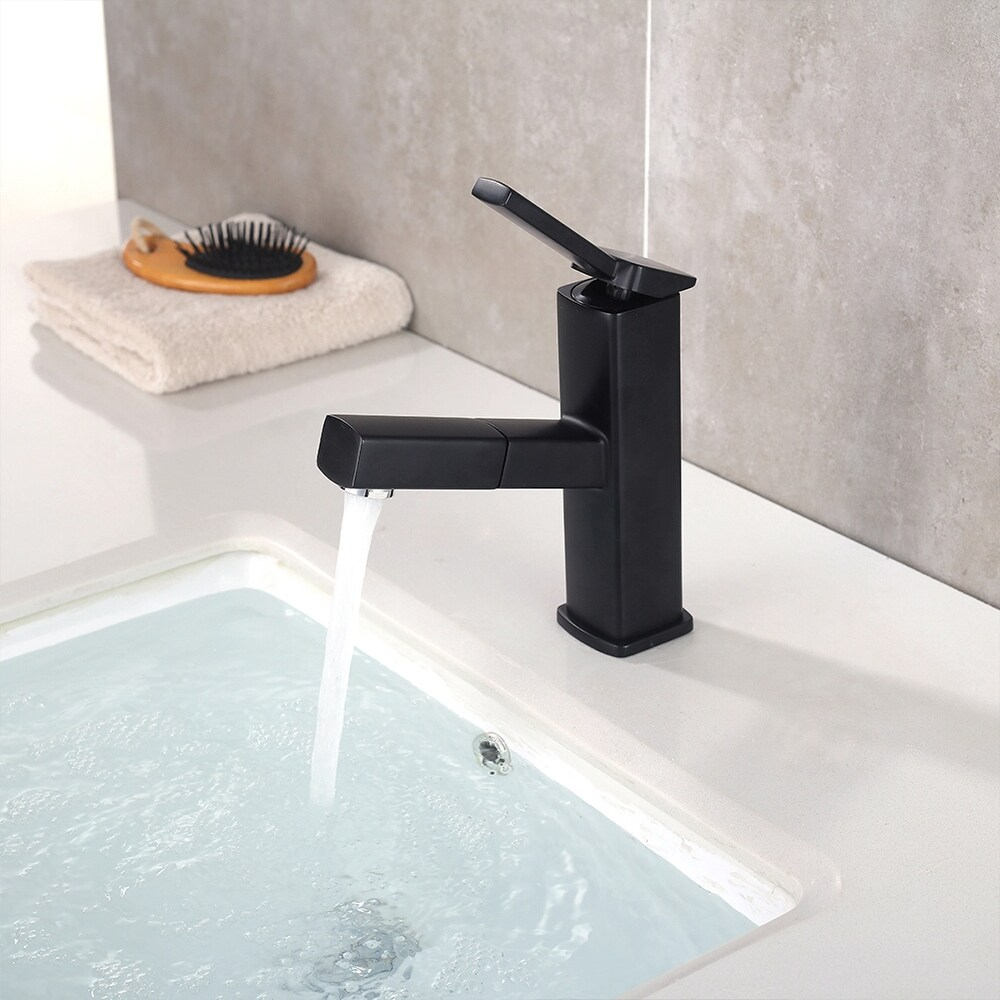 Brass Basin Faucet Bathroom Pull Out Faucet BifunctionalFaucet (Black)