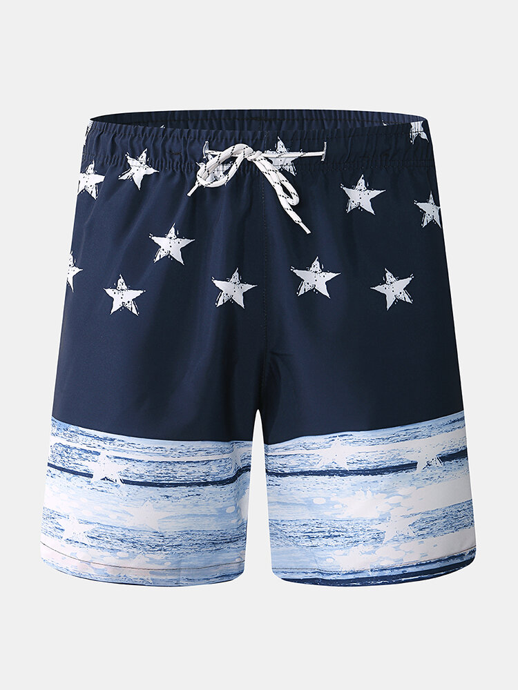 Mens Board Shorts Star Print Drawstring Elastic WaistQuick Drying Holiday Swim Trunk