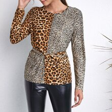 T-Shirt mit Leopard Muster, Farbblock und Knoten hinten