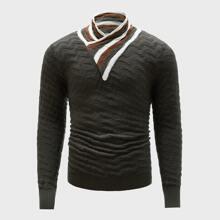 Jersey de cuello tortuga tejido de canale de rayas