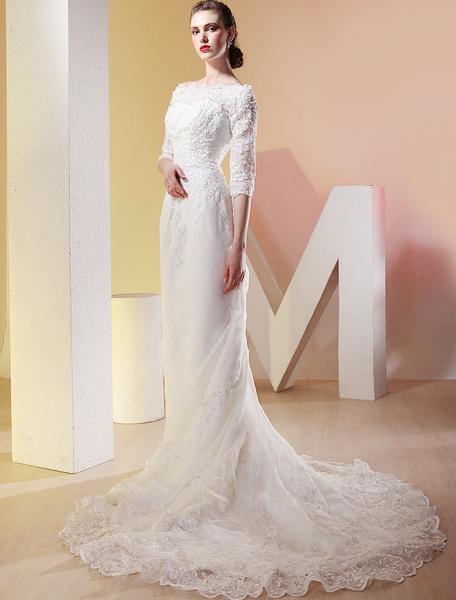 Milanoo White Satin Three Quarter Sleeves Floor Length Luxury Wedding Dress