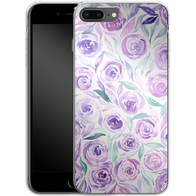 Apple iPhone 8 Plus Silikon Handyhuelle - Purple Rose Floral von Becky Starsmore