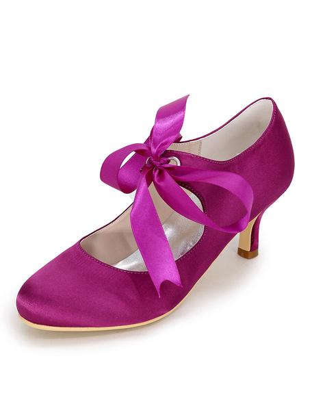 Milanoo White Wedding Shoes Satin Round Toe Lace Up Bridal Shoes Women Kitten Heels