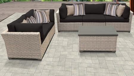Monterey Collection MONTEREY-06c-BLACK 6-Piece Patio Set 06c with 4 Corner Chair   1 Armless Chair   1 Storage Coffee Table - Beige and Black