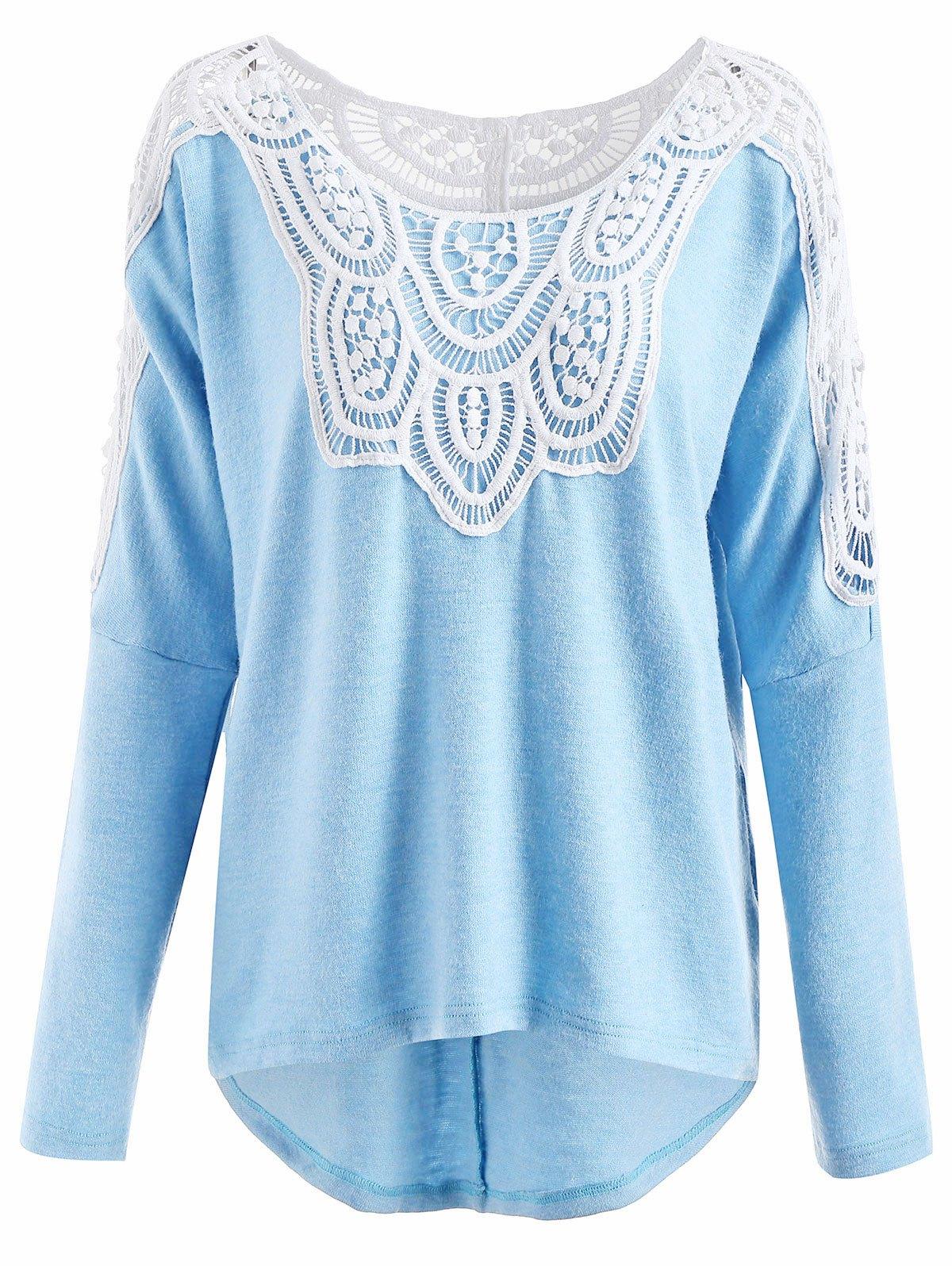Drop Shoulder Lace Insert Sweater